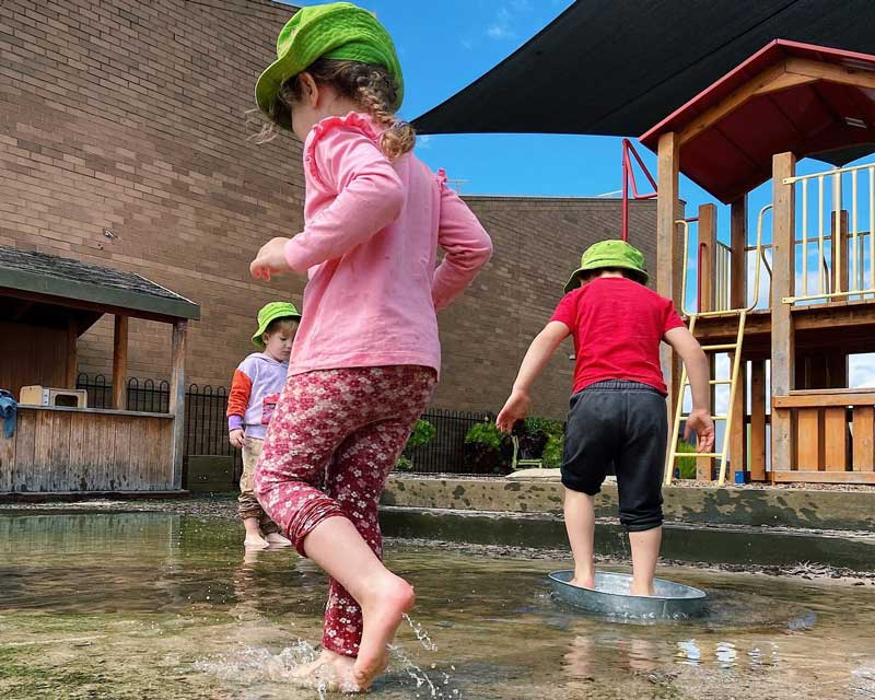 Children playing alongside but not with each other. This type of play may be misinterpreted as a trait of shy children.