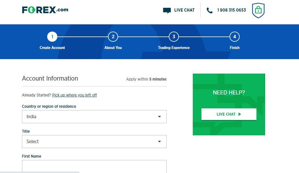 Handelskonto eröffnen bei Forex.com