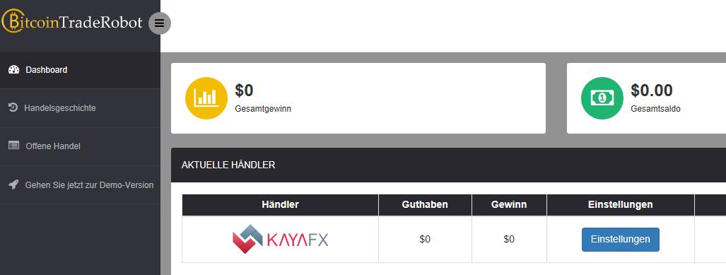 LiveKonto KayaFX als Händler auswählen