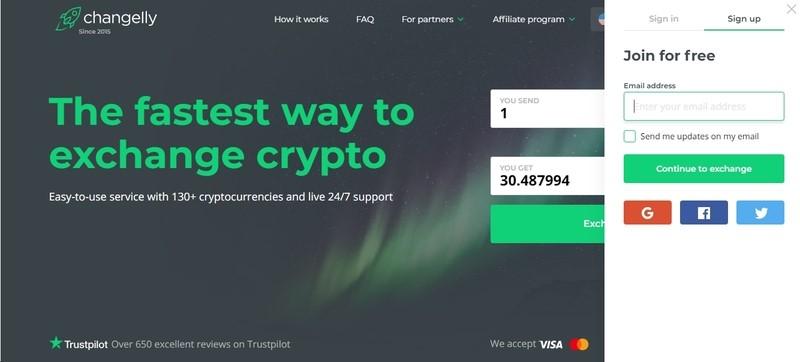 changelly screenshot homepage