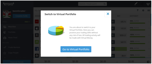 Virtual portfolio feature of eToro.