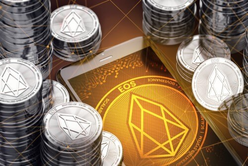 EOS coin stacks and logo