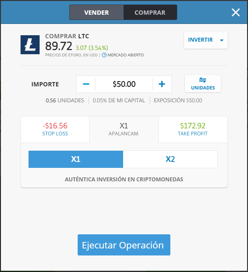 Ejemplo de cómo comprar Litecoin con eToro