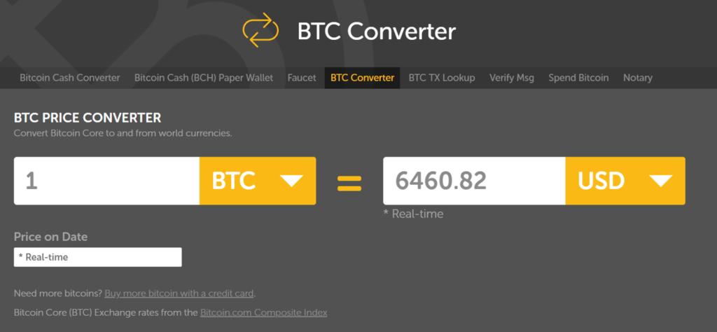 BTC converter bitcoin calculator