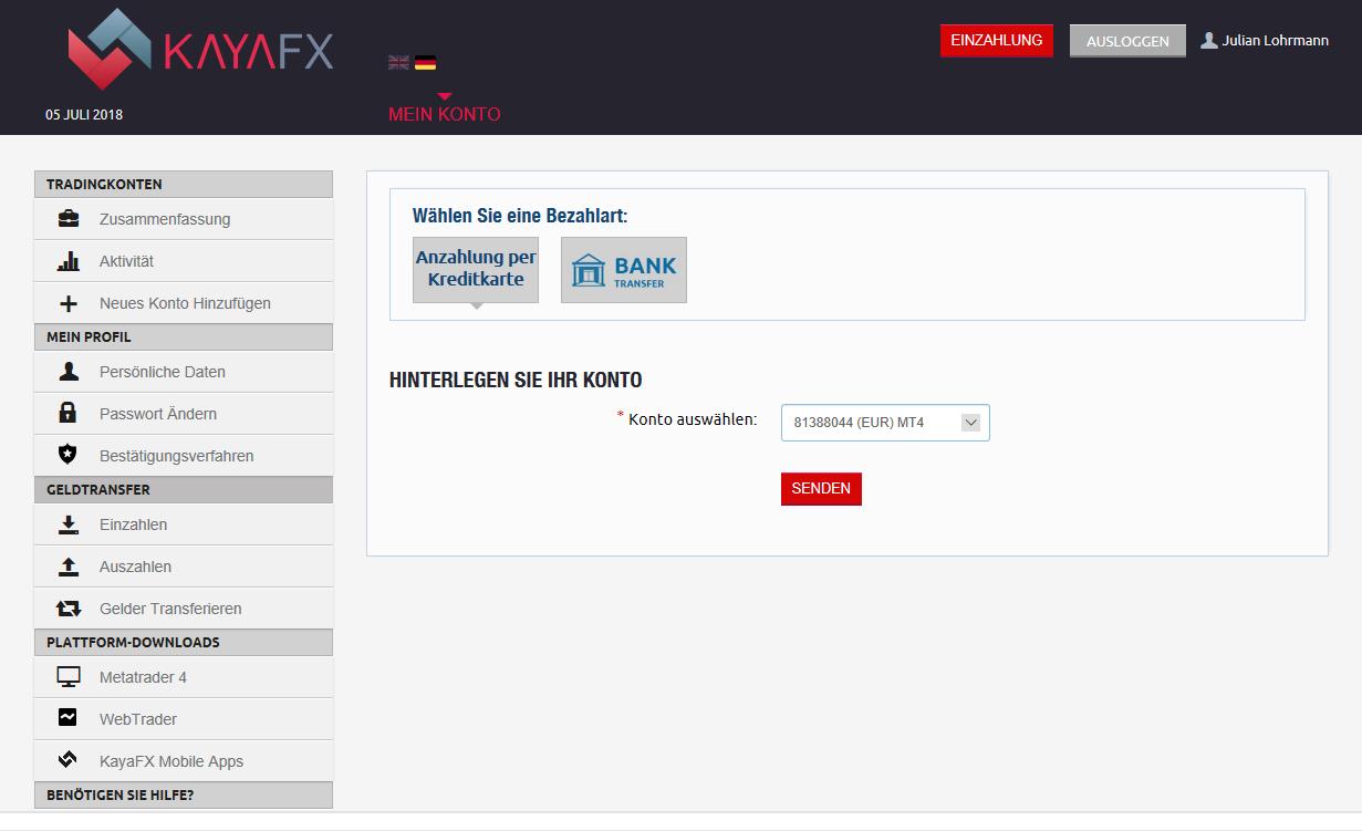 KayaFX Einzahlungen