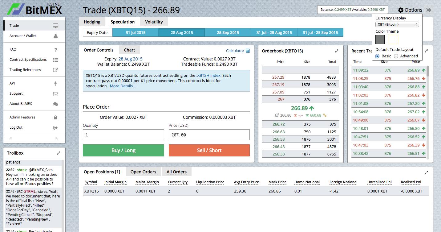BitMEX User Interface