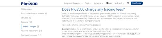 Plus500 Overnight-Gebühren