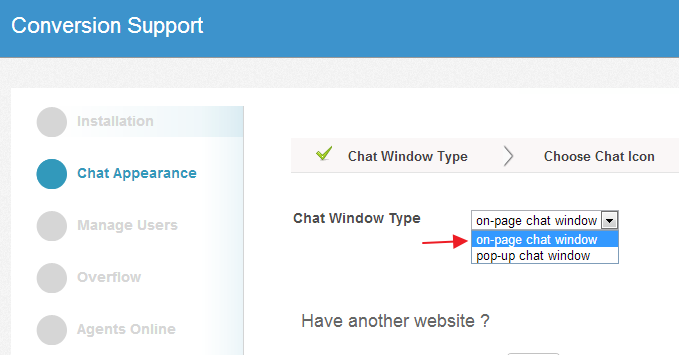 On-page chat window - Settings - Conversion Support
