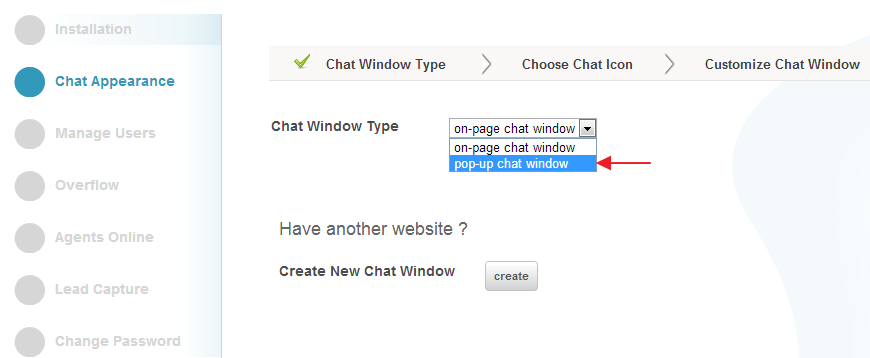 Pop-Up chat Window - Settings - Conversion Support