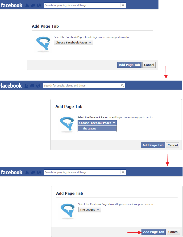 Add Page Tab - Facebook App - Conversion Support