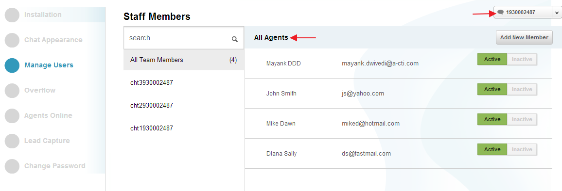 All Agents - Manage Users - Settings - Conversion Support