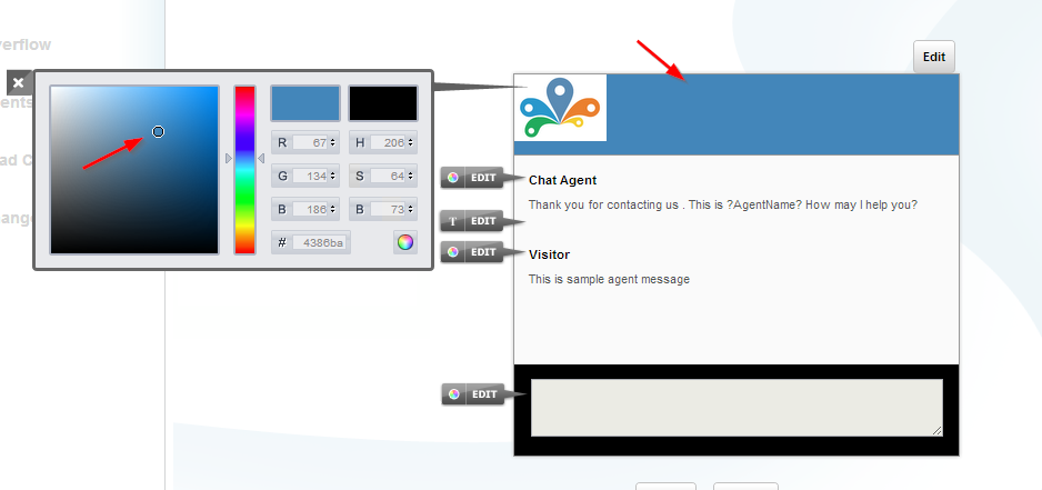 Chat window title bar color change - Customize chat window - Conversion support