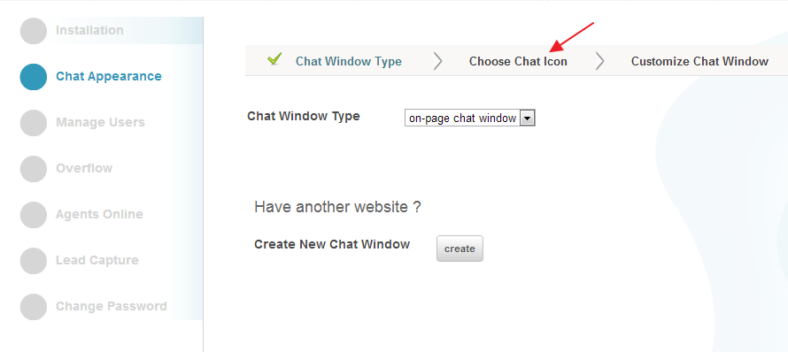 Choose Chat Icon - Settings - Conversion Suppot