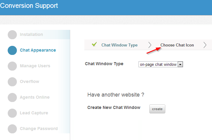 Choose chat icon - chat appearance - settings - Conversion support