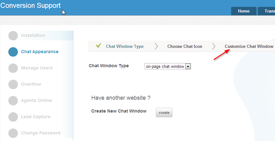 Customize Chat Window - Chat Appearance - Settings - Conversion Support
