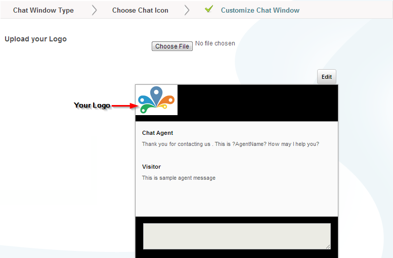 Logo Uploaded - Customize Chat Window - Settings - Conversion Support