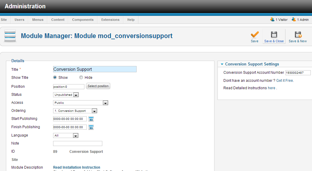 Module Manage Save - Joomla