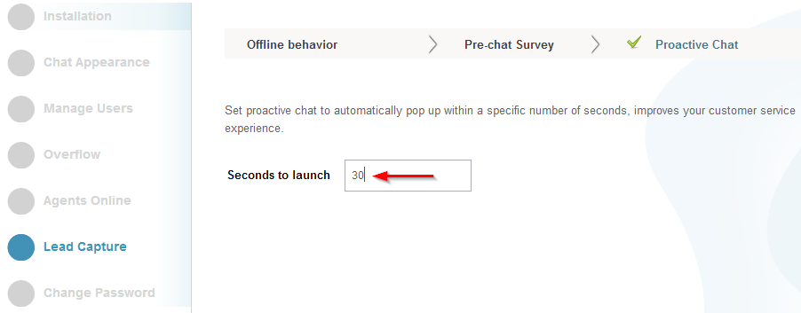 Seconds to launch - lead capture- settings- conversin support