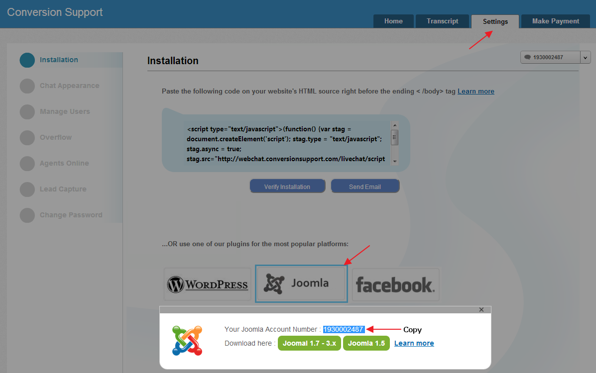 Settings - Conversion Support - Joomla account number