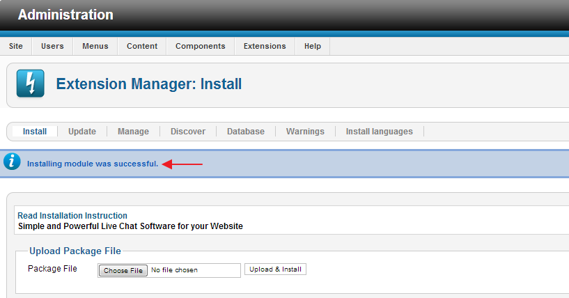 Successfull Installation - Extension Manager - Joomla