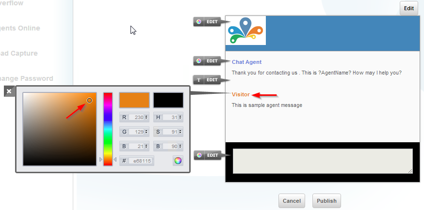 Visitor text color - customize chat window - settings - Conversion Support
