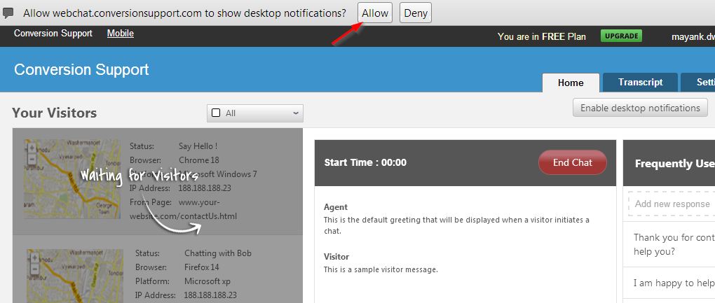 allow the notification - home-conversion support