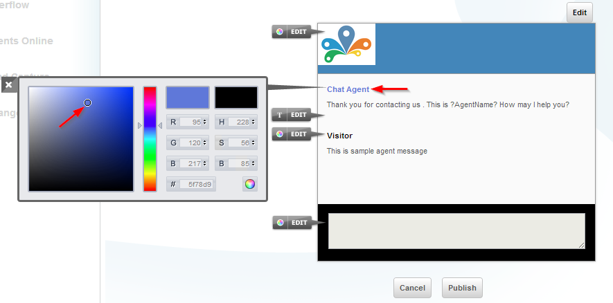chat agent text color - Customize chat window - settings - Conversion Support