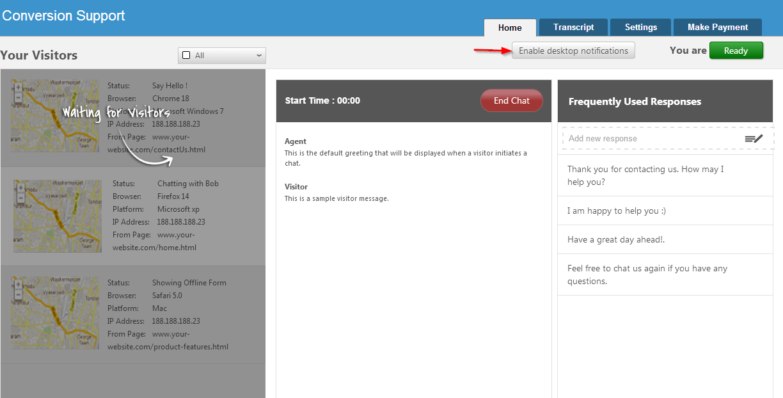 enable desktop notification - home - conversion support