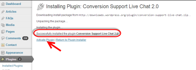 conversion support - wordpress plugin installed