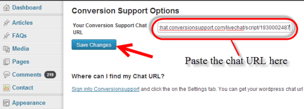 paste the chat URL - conversion support - wordpress