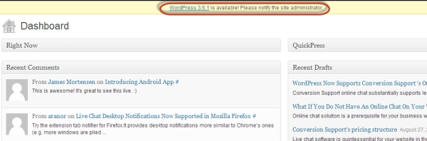 Admin notification - WordPress - Conversion Support online chat WordPress plugin