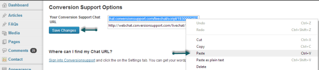 Chat URL - WordPress - Conversion Support online chat WordPress plugin