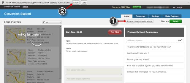Enable Desktop Notification - Chrome Browser - Conversion Support Online Chat