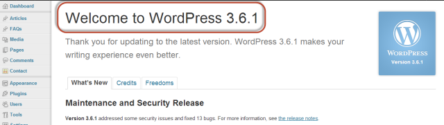 Welcome to WordPress 3.6.1 - Conversion Support online chat WordPress plugin