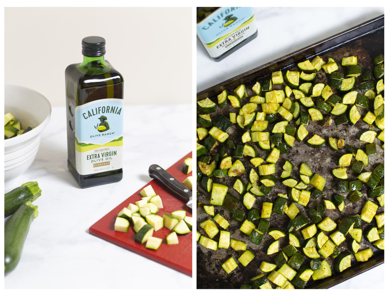 California olive ranch extra virgin olive oil next to a pan of freshly roasted zucchini.