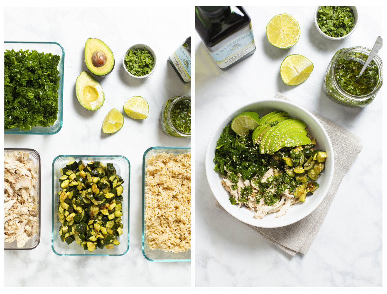 ingredients in glass bowls with extra virgin olive oil, avocado, kale, brown rice, chicken, and pesto. On the right they are all put together in a bowl.