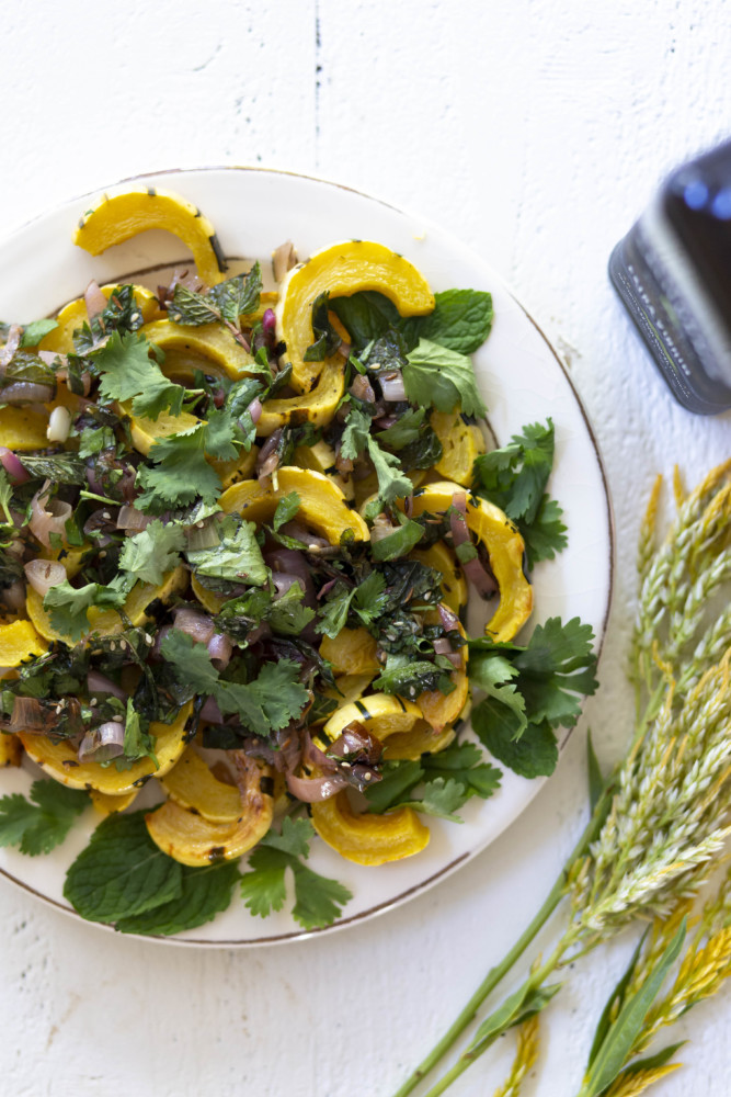 Delicata Squash with Fresh Mint & Cilantro topped with California Olive Ranch extra virgin olive oil.