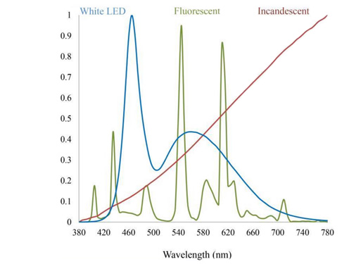 llowing graphic illustrates the differences in color spectrum between an incandescent light, which has very little blue, compared to fluorescent light and white LED.
