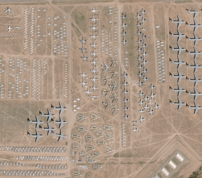 """SkySat image of the decommissioned aircraft """"boneyard"""" outside of Tucson captured on October 19, 2016 © 2016, Planet Labs Inc. All Rights Reserved."""