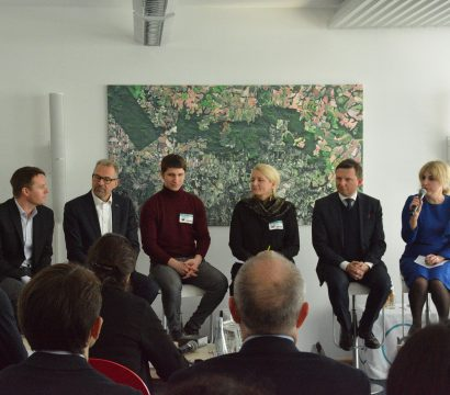 Leaders in the European space community at Planet's Berlin office discussing the new space landscape in Europe