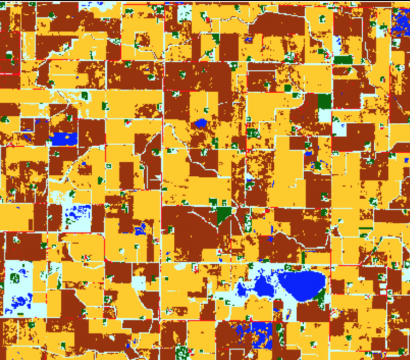 A land cover classification map produced of farmlands in Rolfe, Iowa
