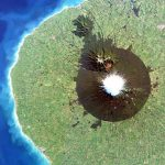 Mount Taranaki - dubbed shining mountain after its snow-clad peaks - captured on June 28, 2018 by a RapidEye satellite