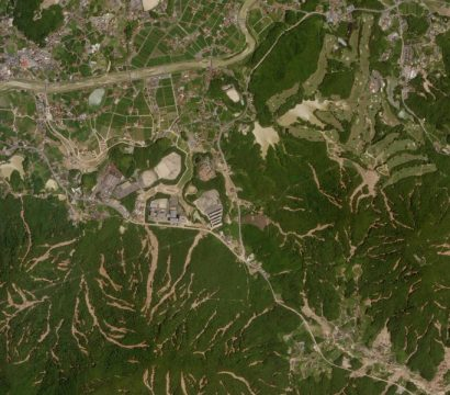 Imagery of the flooding and resulting landslides in Kure, Japan