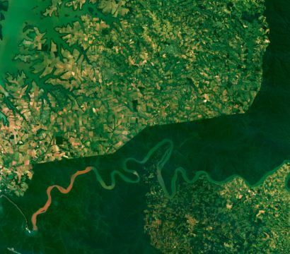 A Planet Basemap of Parque Nacional Iguazú, along the border with Paraguay, Argentina, and Brazil