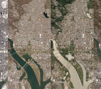 SkySat imagery of Washington D.C. in four different seasons © 2019, Planet Labs Inc. All Rights Reserved.