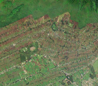 image of agriculture bordering Rwanda's Volcanoes National Park