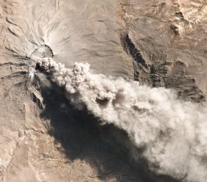 satellite image of a volcanic explosion