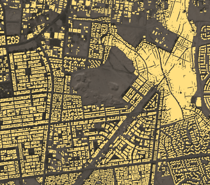 Planet's building detection feed augments Planet basemaps with building locations, updated monthly. This map shows an area of mixed small and large buildings on the outskirts of a Cairo, Egypt. © 2019, Planet Labs Inc. All Rights Reserved.