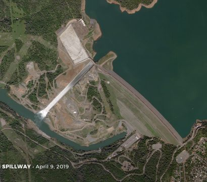 Planet imagery of the Oroville dam spillway © 2019, Planet Labs Inc. All Rights Reserved.