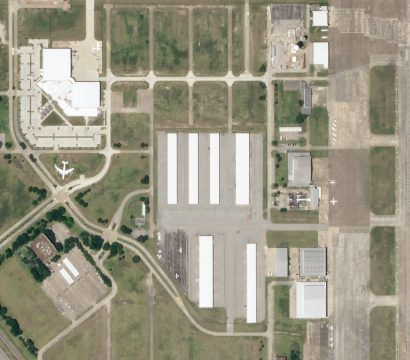 """A view of Ellington Field Joint Reserve Base where NASA launches its famous """"Vomit Comet.""""© 2020, Planet Labs Inc. All Rights Reserved."""